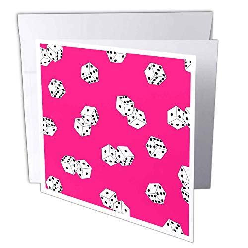 3dRose Pink and White Dice Print - Greeting Cards, 6 x 6 inches, set of 6 (gc_35486_1) von 3dRose