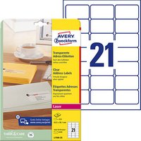 525 AVERY Zweckform Folien-Adressetiketten L7560-25 transparent von AVERY Zweckform