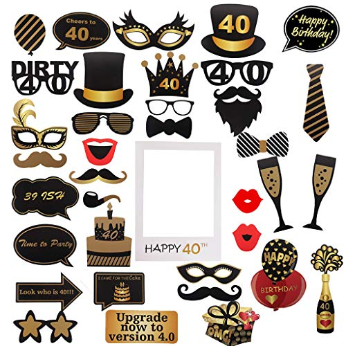Amycute 40 Geburtstag Party Foto Booth Props, Fotorequisiten Party Foto Booth Requisiten DIY Kit Photobooth Requisiten für Hochzeit, Reunion, Geburtstage, Prop Dress-up, Zubehör und Party Favors. von Amycute