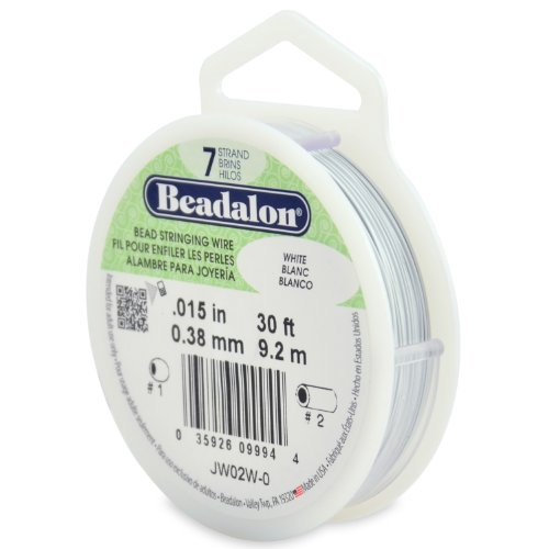 "Beadalon Bead Stringing Wire 7-Strand 0.015"" (0.38 mm) 30 ft (9.1 m) White Perlendraht, weiß, 0.01"" (0.38mm) von Beadalon"