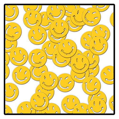 A Beistle Creation 50611 Fanci-Fetti Smile Faces, plastik, gelb von A Beistle Creation