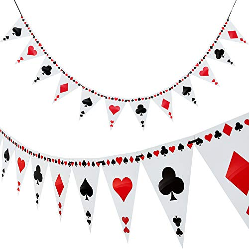 2 Stück Poker Thema Party Bunting Banner Poker Dreieck Banner für Poker Thema Party Dekorationen, 24 Flagge von Boao