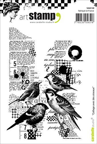 Carabelle Studio A6 Cling Stempel - Collage with Birds, Rubber, White transparent, 10 x 14 x 0.5 cm von Carabelle Studio