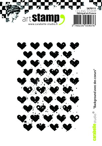 Carabelle Studio A7 Cling Stempel - Background with Hearts, Rubber, White transparent, 10 x 8 x 0.5 cm von Carabelle Studio