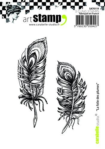 Carabelle Studio SA70119 A7 Cling Stempel - Madness Feathers, Rubber, White Transparent, 10 x 8 x 0.5 cm von Carabelle Studio