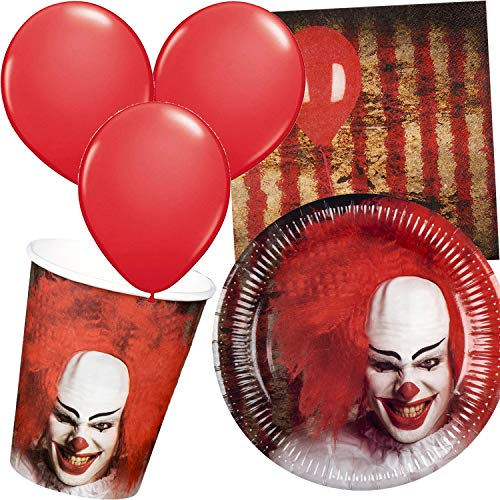 Carpeta 43-teiliges Party-Set * Halloween Clown * mit Teller + Becher + Servietten + Luftballons | Grusel Zirkus It Es Horror Partygeschirr Deko Party Mottoparty von Carpeta