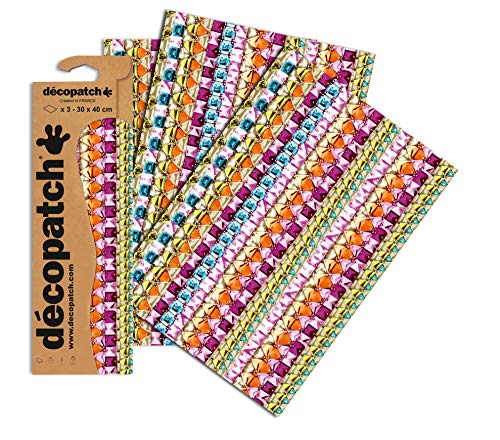 Decopatch Papier No. 630 (violett bunt Schmucksteine, 395 x 298 mm) 3er Pack von Clairefontaine