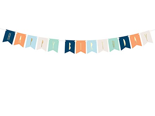 DaLoKu Happy Birthday Geburtstag Girlande Banner Dekoration Party, Farbe: Banner blau 11,5x140 cm von DaLoKu