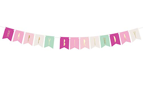 DaLoKu Happy Birthday Geburtstag Girlande Banner Dekoration Party, Farbe: Banner pink 11,5x140 cm von DaLoKu
