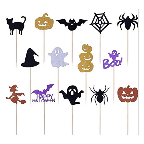 Demarkt Halloween Party Picks Spieße Picker Geist Kürbis Spinne Hexe und Fledermaus Halloween Cupcake Toppers Kuchen Dekorieren Cupcake Topper Picks Ghost Decor for Themed Party von Demarkt
