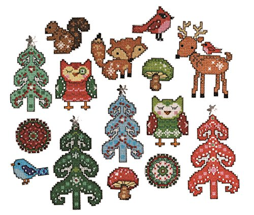 Design Works Woodland Ornaments Kunststoff Leinwand von Design Works