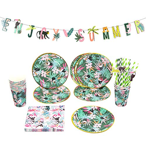 Easy Joy 69er Set Dschungel Party Partygeschirr Safari Tischdeko Pappbecher Pappteller Servietten Strohhalme für 12 Kinder von Easy Joy