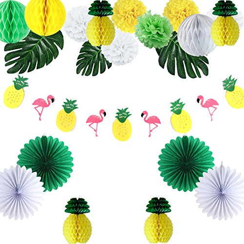 Easy Joy Ananas Mottoparty Deko Set Tropische Blätter Flamingo Fächer Pompoms von Easy Joy