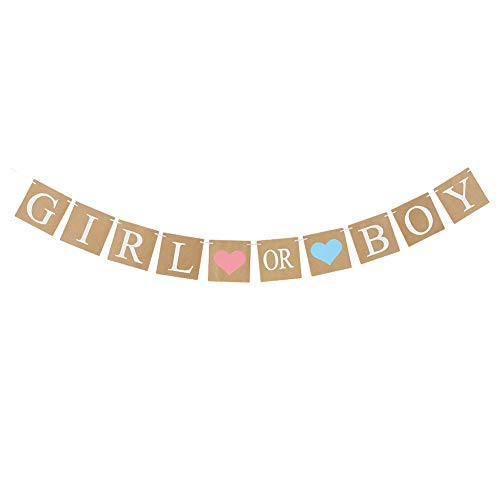 Easy Joy Babyparty Girlande Girl or Boy Babyshower Banner Braun Taufe Dekoration (Girl or Boy) von Easy Joy