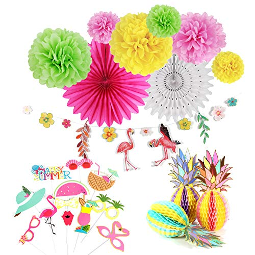 Easy Joy Summer Party Hawaii Mottoparty Ananas Tischdeko Flamingo Girlande Kokosnuß Foto Requisiten Geburtstagsdeko Kit Bunt von Easy Joy