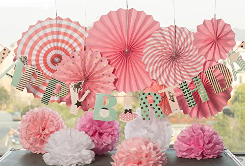 Easy Joy Happy Birthday Girlande Rosa Geburtstag Dekoration Set Fächer Pompoms Deko von Easy Joy