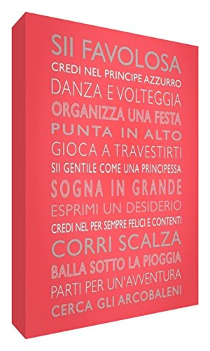 Feel Good Art girlsrules2436 – 01It REGLAS DE eine niÃÂ ± a Bild auf Leinwand von Wand in modernem Stil typographisches 91 x 60 cm Coral von Feel Good Art