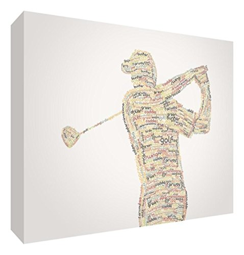 Feel Good Art golf2436 – 01It Spieler Bild auf Leinwand verpackt mit Frontblende voller Position modernes typographisches 91 x 60 cm Autumnal Tones von Feel Good Art