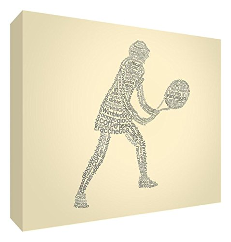 Feel Good Art tennisgirl2436 – 01It Tennisspieler Bild auf Leinwand verpackt mit Frontblende voller Position modernes typographisches 91 x 60 cm Multicoloured on Black von Feel Good Art