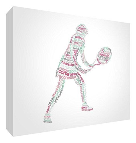 Feel Good Art tennisgirl2436 – 01It Tennisspieler Bild auf Leinwand verpackt mit Frontblende voller Position modernes typographisches 91 x 60 cm Red Tones von Feel Good Art