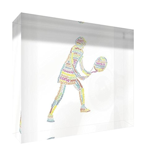Feel Good Art tennisgirla5blk-01it Tennisspieler Token Deko Acryl, Schleifen Diamant mit Position modernes typographisches 14.8 x 21 x 2 cm Mehrfarbig von Feel Good Art