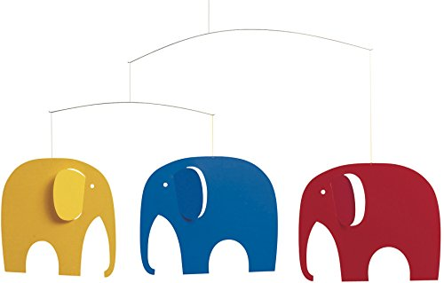 Flensted Mobiles Elephant Party yellow, blue, red 35x63cm von Flensted Mobiles