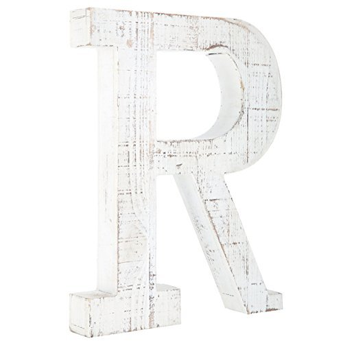 Distressed White Alphabet Wall Décor/Free Standing Monogram Letter B von Generic