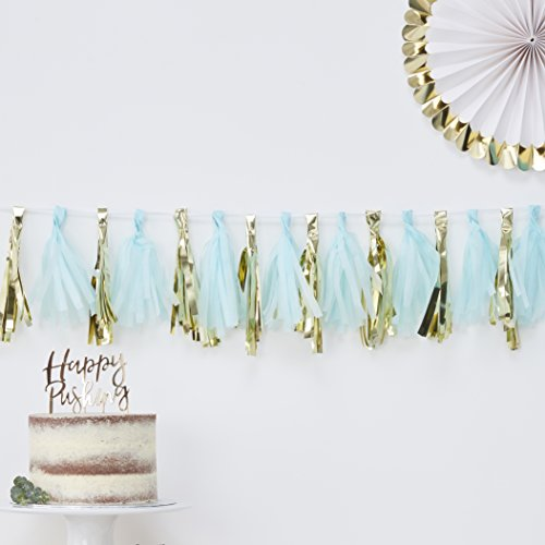 BLUE AND GOLD TASSEL GARLAND - OH BABY! von Ginger Ray
