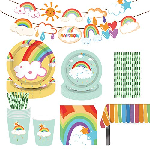Hongfago Rainbow Party-Set, 69-teiliges Baby Dusche Party Set Sommer-Party Boy Geschirr-Set Teller Becher Servietten für 8 Kinder Geburtstagsgeschenk, Kindergeburtstag, Party Deko, Baby Shower von Hongfago