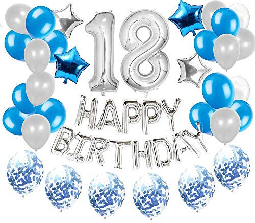 JeVenis 36 PCS Silver Blue 18th Birthday Decorations Party Supplies 18 Birthday Balloons Happy Birthday Balloon Banner 18 Birthday Decorations von JeVenis