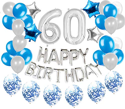 JeVenis 36 PCS Silver Blue 60th Birthday Decorations Party Supplies 60 Birthday Balloons Happy Birthday 60 Balloon Banner 60 Birthday Decorations von JeVenis