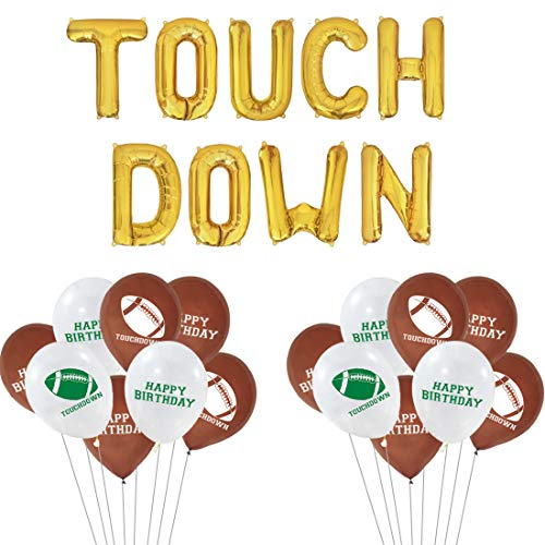 Jollyboom Fußball Touchdown Party Supplies Gold Touch DOWN Ballon Fußball Ballons Dekorationen für Heckklappe Party Supplies Super Bowl Sonntag Baby Shower, Birthday Party Supplies. von Jollyboom