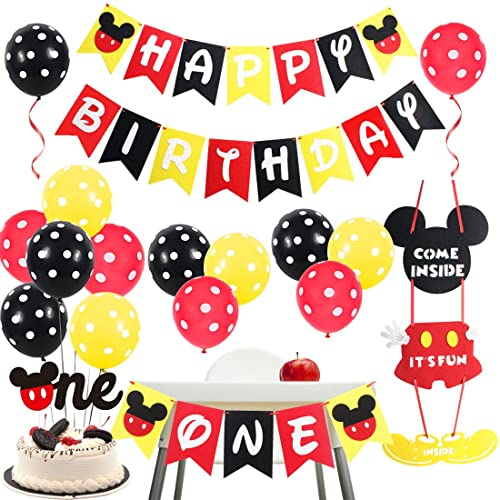 Jollyboom Mickey Motto 1. Birthday Party Supplies - Mickey und Minnie Party Dekorationen Willkommensschild Türhänger schwarz rot gelb für den ersten Geburtstag von Jollyboom