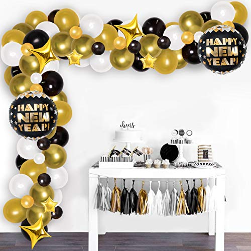 Jollyboom Neujahrsballon-Girlande Bogen schwarz gold für Weihnachten Party Supplies 2021, für Geburtstagsparty Babyparty Junge Treppen Outdoor Dekorationen Set von Jollyboom