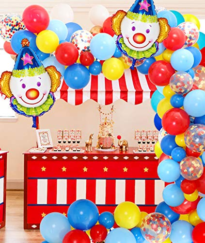 Jollyboom Zirkus Party Dekorationen Ballon Girlande Arch Kit mit Zirkus Luftballons rot gelb blau Latex Luftballons für Karneval Thema Geburtstag Baby Shower von Jollyboom