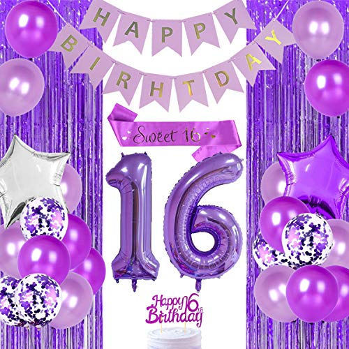 Lila 16. Geburtstag Dekorationen für Mädchen Sweet 16 Party Supplies mit Happy 16th Birthday Cake Topper Sweet 16 Schärpe Nummer 16 Folienballon Geburtstag Party Supplies von Jollyboom