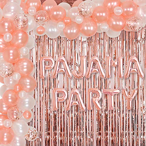 Pyjama-Partyzubehör für Mädchen und Frauen, Roségold-Ballon-Girlande-Set für Übernachtungen, Schlummerpartys, Spa, Party-Dekorationen, Folien-Lametta-Vorhang, Pyjama-Party-Banner von Jollyboom