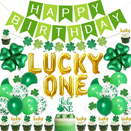 St. Patrick's Day First Birthday Party Dekorationen Kit Lucky One Folienballons Tortenaufsatz Kleeblatt vierblättriges Kleeblatt Girlande Irish 1. Geburtstag Zubehör von Jollyboom