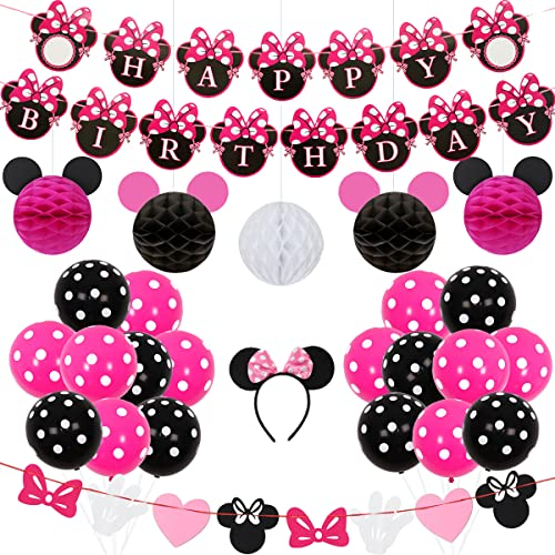 Kreatwow Minnie Themed Birthday Party Supplies Dekorationen für 1. 2. 3. Geburtstag Baby Shower von Kreatwow
