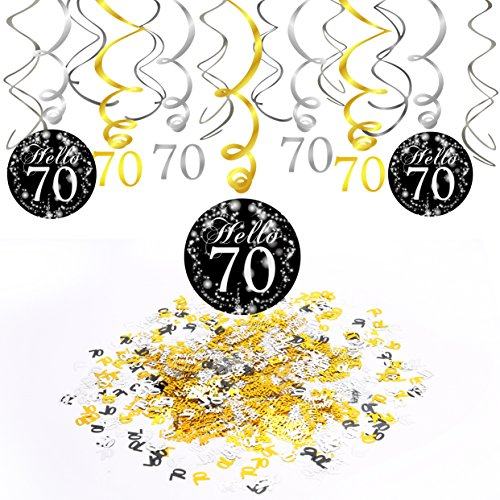 Konsait 70. Geburtstag Dekoration, 70. Geburtstags Spirale Deko schwarz und Gold (15 Grafen), Happy Birthday & Zahl 70 Konfetti (1.05 oz), 70 Jahre alt Party Dekorationen von Konsait