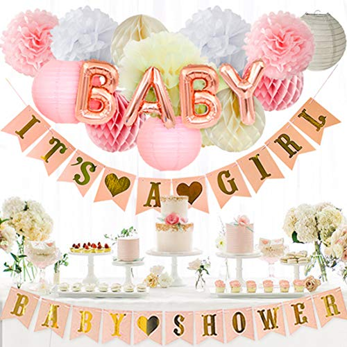 Kreatwow Baby Shower Dekorationen für Mädchen IT´s A Girl Baby Shower Banner, Rose White Seidenpapier Baby Shower Set von Kreatwow