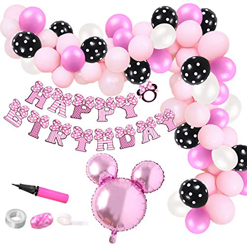 Kreatwow Minnie Ballon Garland Arch Kit für 1. 2. 3. Birthday Party Supplies oder Baby Shower Dekorationen von Kreatwow