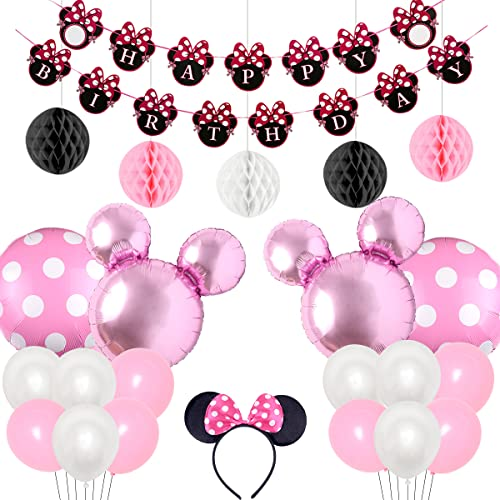 Kreatwow Pink Minnie Motto Party Supplies Dekorationen Minnie Happy Birthday Banner Stirnband für 1. 2. 3. Geburtstag Baby Shower von Kreatwow