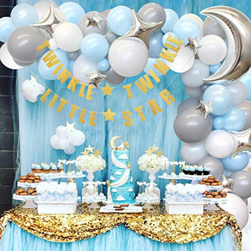 Twinkle Baby Shower, Geburtstag Dekorationen für Boy - Blue und Grey Moon & Star Balloon Arch, Gold Twinkle Little Star Banner von Kreatwow