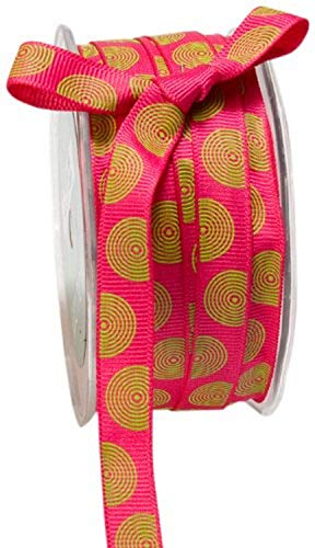 May Arts 1/2-Inch Wide Ribbon, Fuchsia Grosgrain with Parrot Green Circles von May Arts