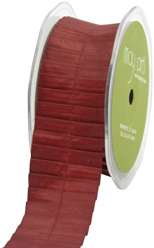 May Arts 1-1/2-Inch Wide Ribbon, Rust Satin Pleats von May Arts
