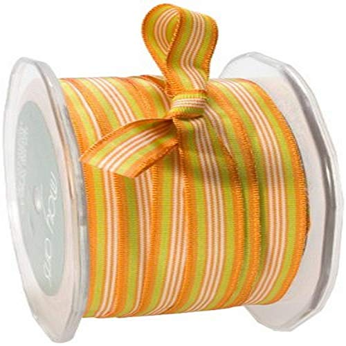 May Arts 3/8-Inch Wide Ribbon, Orange and Parrot Green Grosgrain Stripes von May Arts