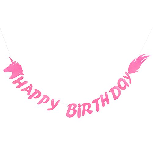 Oblique Unique® Happy Birthday Einhorn Girlande Unicorn Banner aus echtem Filz Rosa 2m - Kinder Geburtstag Party Deko von Oblique Unique