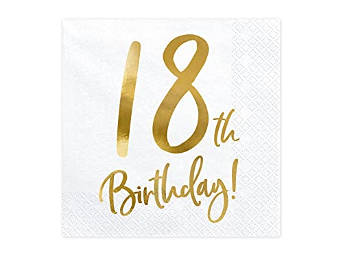 20 Servietten 18th Birthday, white, 33x33cm (1 pkt / 20 pc.) SP33-77-18-008 von Partydeco.pl