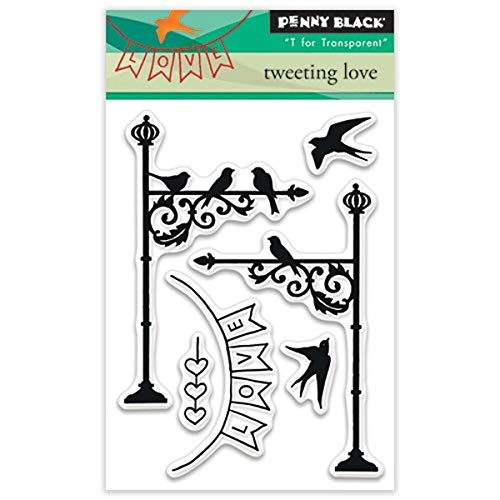 Penny Black Penny Black Clear Stamps 3 Zoll x 4-Zoll Tweeting Love, Acryl, Mehrfarbig von Pennyblack